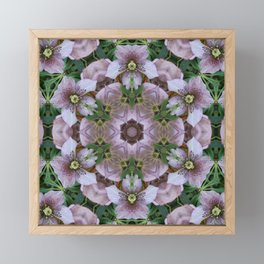 Hellebore Mandala - Abstract Floral Art by Fluid Nature Framed Mini Art Print