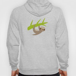 funny and cute smiling Three-toed sloth on green branch Hoody
