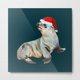 Christmas fur seal Metal Print
