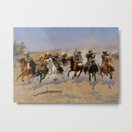 "Frederic Remington Western Art ""Dash For The Timber"" Metal Print"