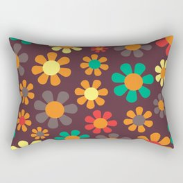 Hippy Flower Daisy Colorful Pattern Rectangular Pillow