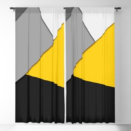 Simple Modern Gray Yellow and Black Geometric Blackout Curtain