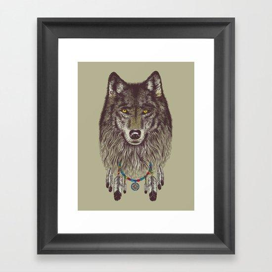 Wind Catcher Wolf Framed Art Print