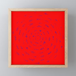 Minimalist Spring Floral Cyclone (Blue on Red) Framed Mini Art Print