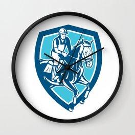 Equestrian Show Jumping Shield Retro Wall Clock