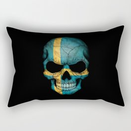 Dark Skull with Flag of Sweden Rectangular Pillow
