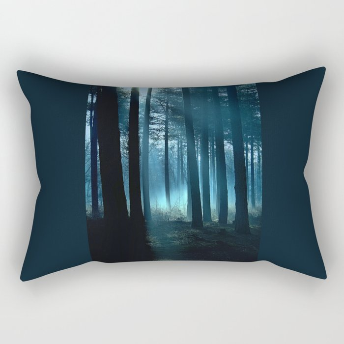 Haunted forest- winter mist in forest Rectangular Pillow