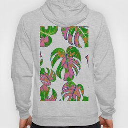 Botanical forest green pink coral watercolor tropical monster leaves Hoody