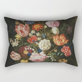 Ambrosius Bosschaerts the Elder - Bouquet of Flowers in a Stone Niche Rectangular Pillow