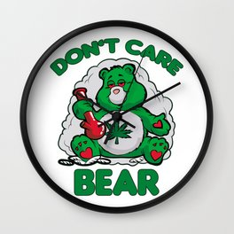DO NOT CARE BEAR SMOKING WEED Bong Hemp Leaf 420 Wall Clock