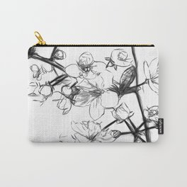 Cherry Blossoms Minimal Drawing Carry-All Pouch