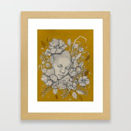 """Guardians"" - Surreal Floral Portrait Illustration Framed Art Print"