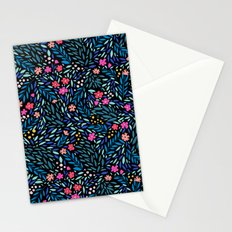 Teeny Tiny Floral Black Stationery Cards