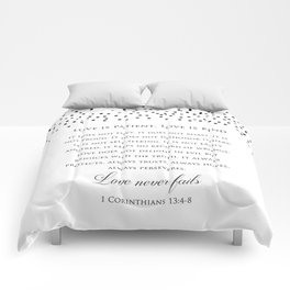 1 Corinthians 13:8 - Love Never Fails - Marriage Bible Wedding Verse Art Print Comforters