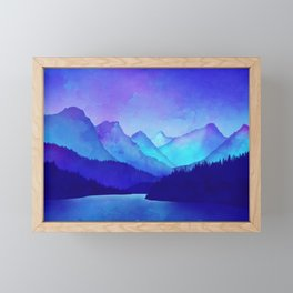 Cerulean Blue Mountains Framed Mini Art Print