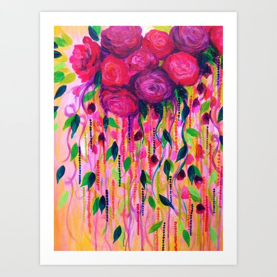 ROSES ARE RAD 2- Bold Pink Red Roses Floral Bouquet Vines, Flower Abstract Acrylic Painting Fine Art Art Print