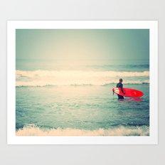 Liquid Courage. surfer photograph, Manhattan Beach Art Print