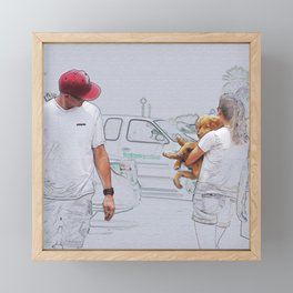Checking It Out: Man, Woman, and Dog Framed Mini Art Print