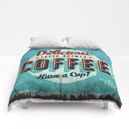 Vintage Style Coffee Sign Comforters