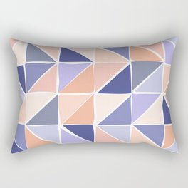 Triangle Geometry in Purple and Coral Rectangular Pillow