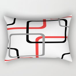 Geometric Rounded Rectangles Collage Red Rectangular Pillow