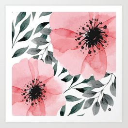 Big Watercolor Flowers Art Print
