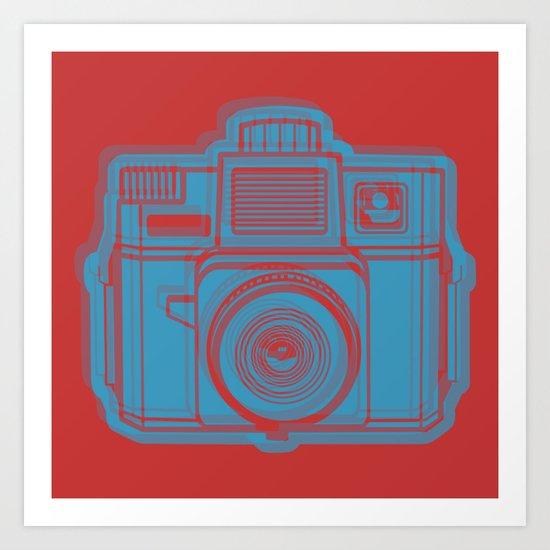 I Still Shoot Film Holga Logo - Red & Blue Art Print