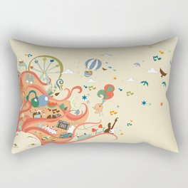 red-haired girl and her dreams about travel and vacation Rectangular Pillow