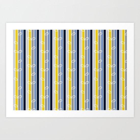 flower stripe Art Print