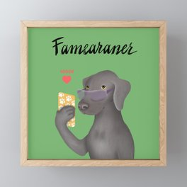Famearaner (Green Background) Framed Mini Art Print
