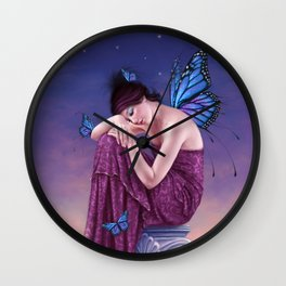 Sunset Monarch Butterfly Fairy Wall Clock