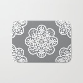 Floral Doily Pattern | Grey and White Bath Mat