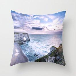 Natural Rock Arch -  ocean, coastal cliffs, waves, clouds, Throw Pillow