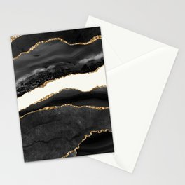 Into the Great Wide Open Black and Gold Agate Stationery Cards