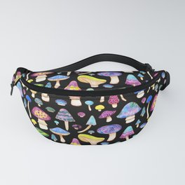 Colorful Mushroom Watercolor on Black Fanny Pack