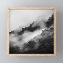 Foggy Mountains Black and White Framed Mini Art Print