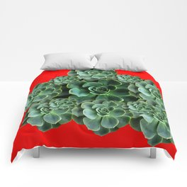 CHINESE  RED ART JADE GREEN SUCCULENTS Comforters