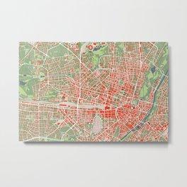 Munich city map classic Metal Print
