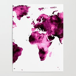 World Map in Pink Paint Poster