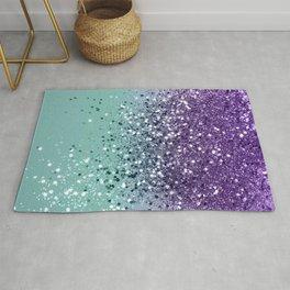 Purple Teal Mermaid Ocean Glitter #1 (Faux Glitter) #shiny #decor #art #society6 Rug