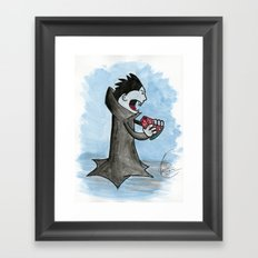Vampire Eating a Watermelon Framed Art Print