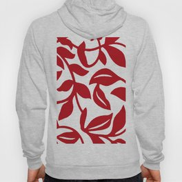 LEAF PALM VINE IN RED AND WHITE PATTERN Hoody
