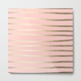 Abstract Drawn Stripes Gold Coral Light Pink Metal Print