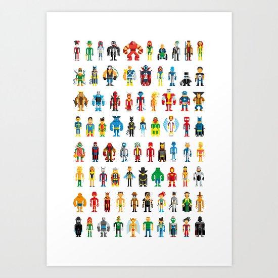 Pixel Heroes Art Print