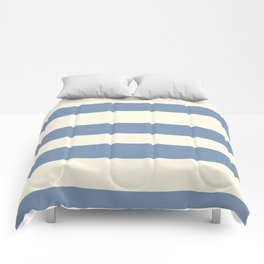 Dusk Sky Blue 27-23 Hand Drawn Fat Horizontal Lines on Dover White 33-6 Comforters