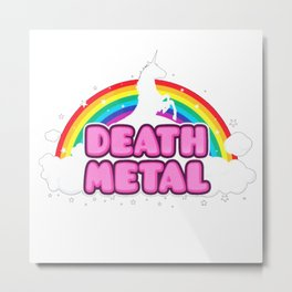 HEAVY METAL Funny Unicorn - Rainbow Mosh Parody Design) T-Shirt Metal Print