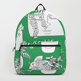 Illustrated Plant Faces in Kelly Green Backpack