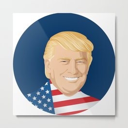 Portrait of Trump with US flag Metal Print
