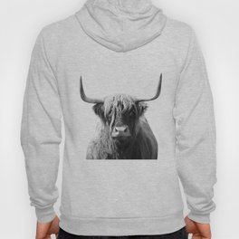 Highland cow | Black and White Photo Hoody