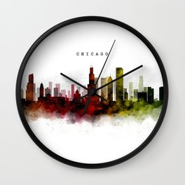 Chicago Watercolor Skyline Wall Clock